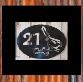This sign is 500 x 420mm and made out of 2mm mild steel.  It is finished in Black Metal Guard Paint.  You house number or name can easily replace the number 21 in this sign. A reflective backing plate can also be attached to the reverse side covering the whole sign or just the number/name.  Reflective backing plate Number only + $30 Reflective backing plate Whole sign +$100.  $150