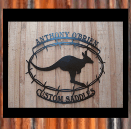 This sign is approximately 600mm x 550mm and made out of 2mm mild steel.  It is finished in Black Metal Guard Paint. $280