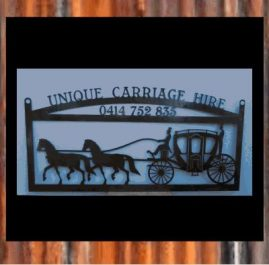 Horse & Carriage, 1200mm wide sign left in raw steel for the owner to either rust or paint themselves $350