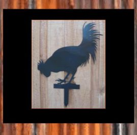 Rooster on single spike (C). Black $55. This Garden ornament is approximately 300 x 500mm and made from 2mm mild steel. It is finished in Black Metal Guard paint. Also available in Raw or Rust $40.00