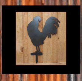 Rooster on single spike (D) $55. This Garden ornament is approximately 300 x 500mm and is made out of 2mm mild steel. It is finished in Black Metal Guard paint Also available in Raw or Rust $40