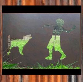 Boy and dog panel. $150. This Garden ornament panel is 750 x 550mm in Raw or Rust finish.  This Panel can be tailored to suit your needs by inserting wording, altering the size and/or changing images.