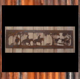Brumby Round Up.  This piece is mm and made out of 2mm mild steel in Raw or Rust finish.  Also available in Black Metal Guard finish (+$35.00) $145