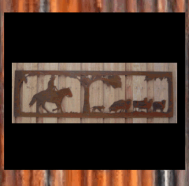 Cattle Round Up. This piece is mm and made out of 2mm mild steel in Raw or Rust finish.  Also available in Black Metal Guard finish (+$35.00)