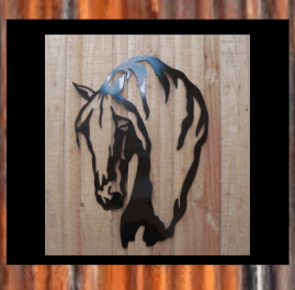 Friesian horse head. Black. $150. This wall art is approximately 510mm x 740mm and made out of 2mm mild steel and finished with Black Metal Guard paint. Also available in Raw or Rust $110.00