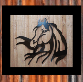 Horse head. Black. $150.  Horse Head Image This wall art is approximately 665mm x 606mm and made out of 2mm mild steel and finished with Black Metal Guard paint. Also available in Raw or Rust $110.00
