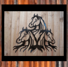 Triple horse head. $250. This wall art is approximately 1000mm x 862mm and made out of 2mm mild steel and finished with Black Metal Guard paint. Also available in Raw or Rust $210.00