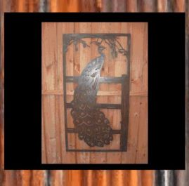 Peacock on fence in frame. $220. This wall art is 590mm x 1090mm in size and made from 2mm mild steel in Raw or Rust finish.  Also available in Black Metal Guard finish (+$35.00)