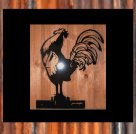 Rooster wall plaque. $75. This Rooster on a fence post wall plaque is made from 2mm mild steel and painted with black Metal Guard paint.  Also available in raw/rust $65.00.
