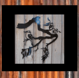 Gum tree branch with kookaburra (medium). $210 This Wall plaque is approximately 785 x 815mm and made out of 2mm mild steel. It is finished in Black Metal Guard paint. Also available in Raw or Rust finish $195.00