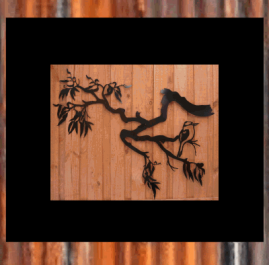 Gum tree branch with kookaburra (large) $380. This large wall plaque is approximately 1160 x 1050mm and made from 2mm mild steel. It is finished with black Metal Guard paint.  Also available in raw/rust $345.00