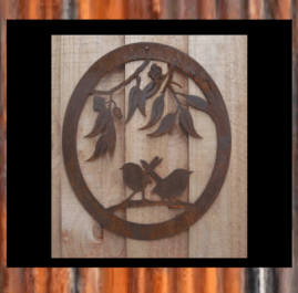 Two wrens in oval. This wall plaque is 430 x 500mm and made out of 2mm mild steel.   Raw or Rust $70.00 Also available in BlackMetal Guard finish $95.00