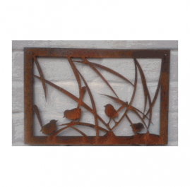 Wrens in the grass Sm B. Approx 650mm x 450mm Rust. $80