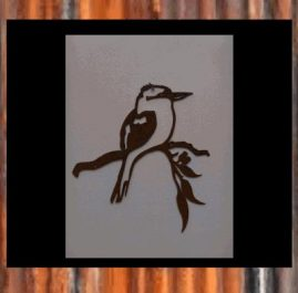 Kookaburra on leaves. This wall plaque is approximately 285 x 340mm is made out of 2mm mild steel.  Rust Finish $45.00 Black Metal Guard paint $65.00
