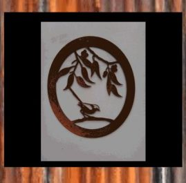 Wren in oval. This wall plaque is 430 x 500mm and made out of 2mm mild steel. Rust Finish $70.00 Black Metal Guard paint Finish $95.00