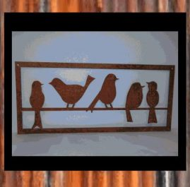5 birds on a wire. Rust finish. $45