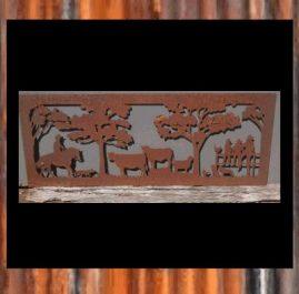 Farm and family scene. Raw/rust finish. $200