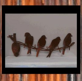 5 birds on barbed wire. Rust finish $55