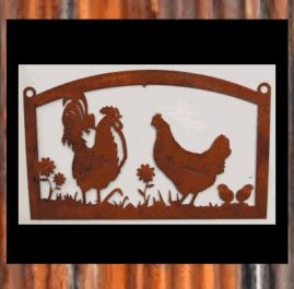 Rooster and girls. Raw/rust finish.  $80