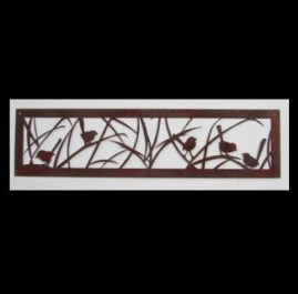 Wrens in the grass A. Approximately 1200mm x 320mm x 2mm mild steel. $145