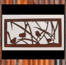 Wrens in the grass. 640mm x 320mm x 2mm mild steel. $75