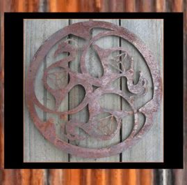 Celtic Trinity Knot, Swans.  This wall art is approximately 400mm and made out of 2mm mild steel in Raw or Rust finish. $80. Also available in Sealed Copper Sulphate $110.00 Black Metal Guard paint $95.00