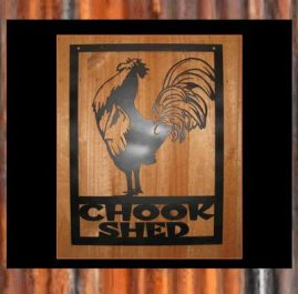 Chook shed rooster (A). $120. This wall plaque is 500 x 640 mm and finished with Black Metal Guard paint. Also available in Sealed Copper Sulphate $135.00 Raw or Rust $105.00