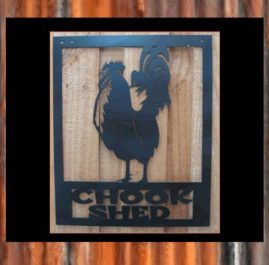 Chook shed rooster (B). $100. This wall plaque is 370 x 450mm and finished with Black Metal Guard paint. Also available in Sealed Copper Sulphate $115.00 Raw or Rust $85.00