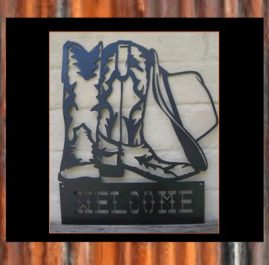 Western boots and hat. $120. This sign is approximately 370 x 450 mm and made out of 2mm mild steel and finished with Black Metal Guard paint. Also available in Raw or Rust $105