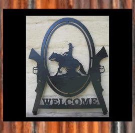 Reiner girl and gun. Welcome. This Sign is approximately 400 x 500 mm and made out of 2mm mild steel. It is finished in Black Metal Guard Paint. $95. Also available in Raw or Rust finish