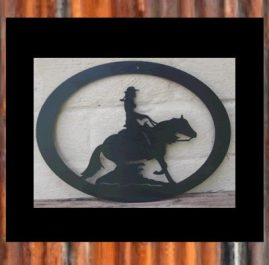 Reiner girl in oval. $45. This wall plaque is approximatrely 450 x 330 mm and made out of 2mm mild steel. It is finished in Black Metal Guard paint. Also available in Raw or Rust $40