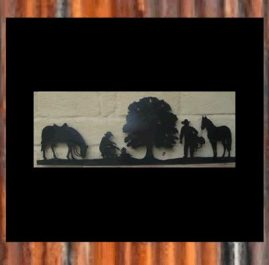 Horse scene. Black. $110. This Wall plaque is approximately 1000 x 400 mm and made out of 2mm mild steel. It is finished in Black Metal Guard paint. Also available in Raw or Rust finish $75.00