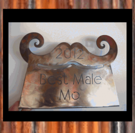 Movember Trophy (male). Gold and dark patina. $60