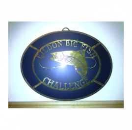 Eildon Fish Trophy. Layered sign. Sealed Gold Patina over painted Black backing plate.  2mm mild steel approx 450mm wide. $350