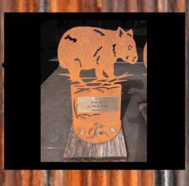 Wombat Trophy, rustic. $60.