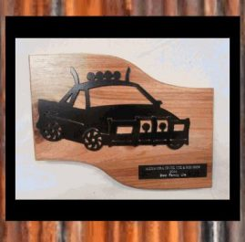 Ute Trophy (C). Painted, mounted on wood.