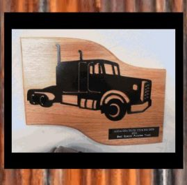 Truck Trophy (B). Painted, mounted on wood.