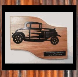 Hot Rod Trophy. Painted, mounted on wood.