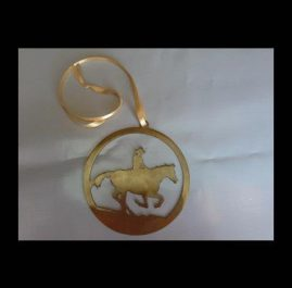 Horse Medallion, gold patina. $30
