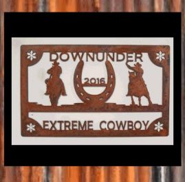 Down Under Extreme Cowboy Trophy, raw rust. $140