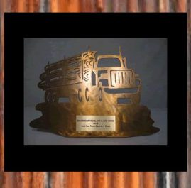 Log Truck Trophy. Golden patina. Prices start at $60