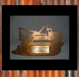 Tow Truck Trophy. Golden patina. Prices start at $60