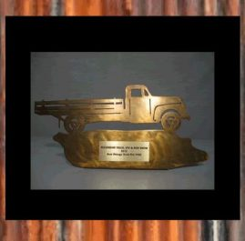 Classic Truck Trophy. Golden patina. Prices start at $60