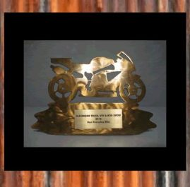 Motor Bike Trophy (B) Golden patina. Prices start at $60